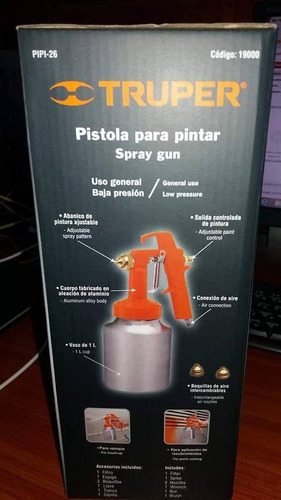 pistola para pintar 50psi marca truper modelo pipi-26