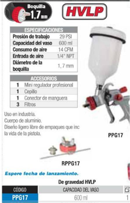 Pistola para pintar de gravedad urrea hvlp ppg17 3 100 - Pistola para pintar precios ...