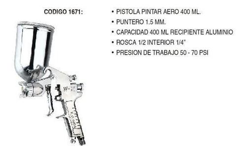 pistola para pintar aerografo 400ml 1.5mm tacho de aluminio