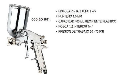 pistola para pintar aerografo 400ml 1.5mm tacho de plástico