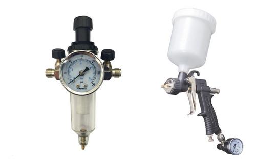 pistola pintura baixa pressão eco 21 + filtro processador ar