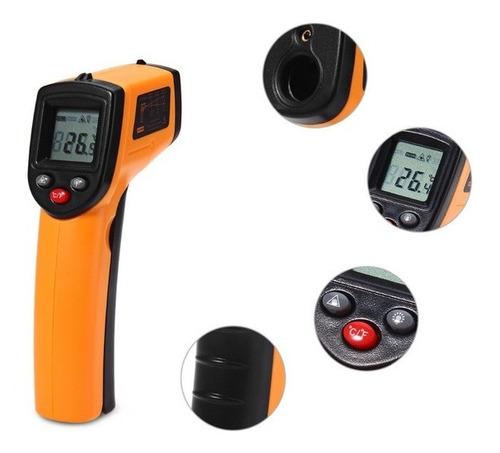 pistola termometro infrarroja medidora de temperatura laser