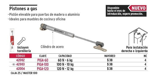 piston a gas 120 n - 12 kg hermex 42004