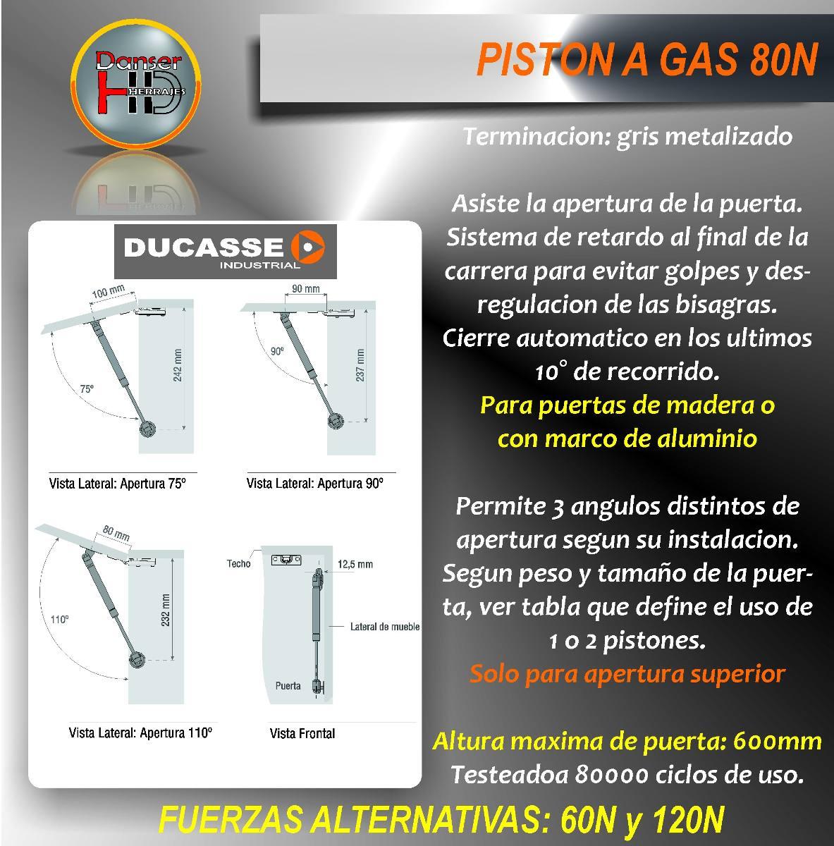 Piston A Gas 80 N Para Puerta Elevable, Herrajes Ducasse