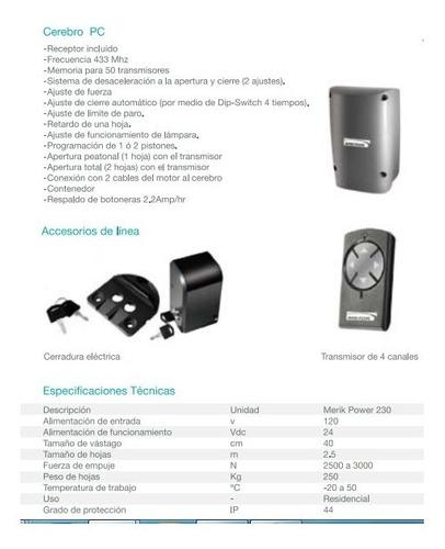 piston electro-mecánico merik 230 plus puerta abatible