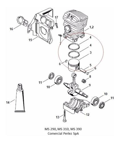 pistón y anillos para motosierra stihl ms 210