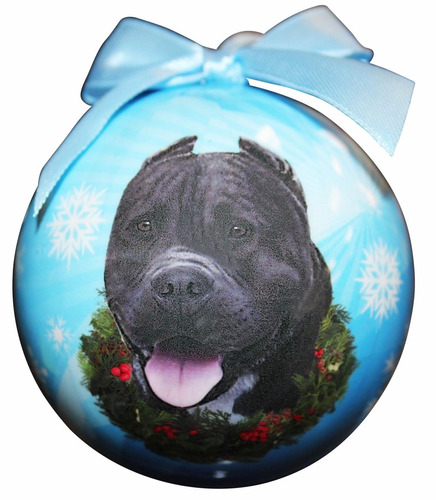 pit bull black christmas ornament  shatter proof ball fácil