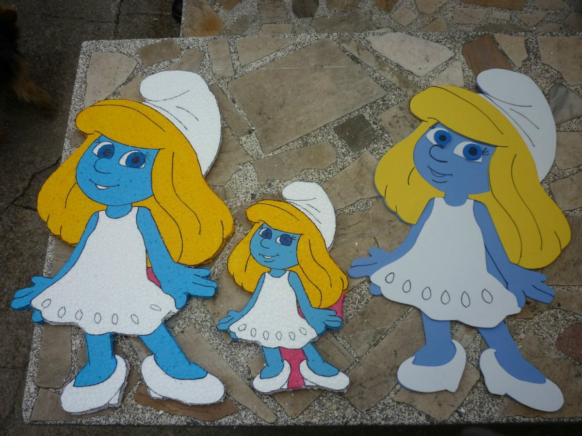 Pitufos en goma eva cotillon cumplea os pitufos decoracion for Decoracion de goma eva para cumpleanos
