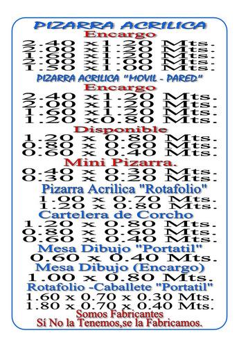 pizarra acrilica rotafolio 1.00 x 0.70 mts.