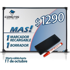 Pizarra Blanca 80x120cm + 1 Marcador + Borrador