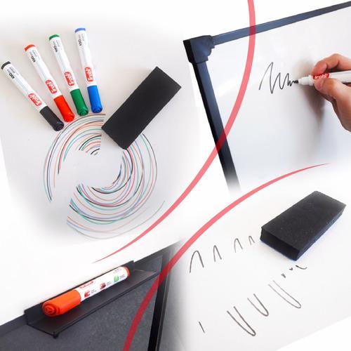 pizarra blanca 80x120cm + marcadores recarg + borr + band