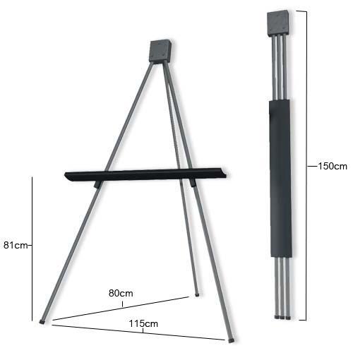 pizarra blanca de 80x120cm + tripode metalico rebatible