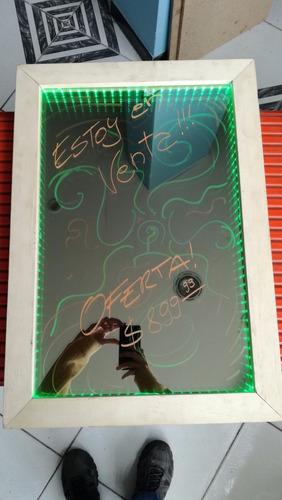 pizarra led doble espejo - marco de madera, oferta!!!