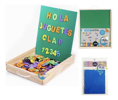 pizarra magnetica con goma eva iman clap caja madera niños
