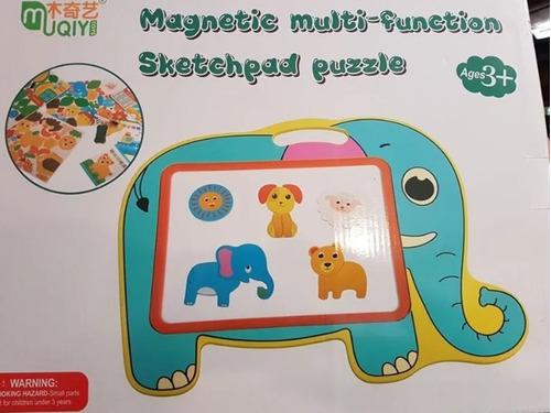 pizarra magnetica doble con figuras madera infantil 39x33cm