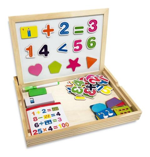 pizarra magnetica doble madera  numeros formitas infantil