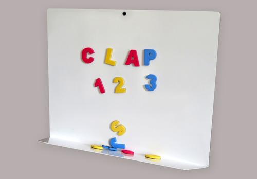 pizarra metalica clap letras numeros imantados goma eva niño