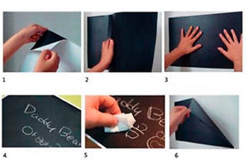 pizarra negra adhesiva tablero 200x60cm + tizas