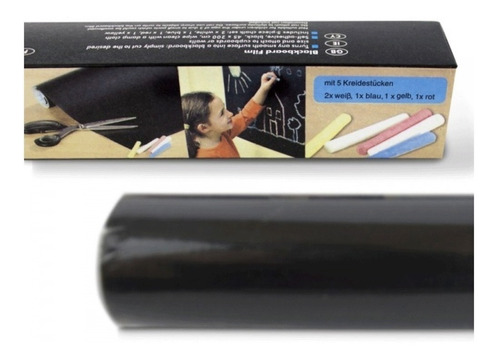 pizarra sticker negro vinilo + tizas surtidas / lhua store