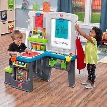 pizarron doble, escritorio step 2 estación de arte infantil
