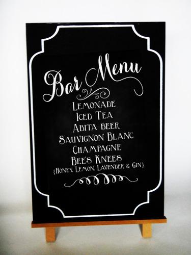 pizarrón negro letrero photo booth boda catering mesa fiesta
