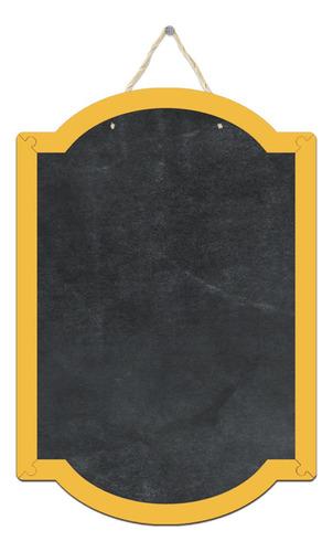 pizarrón pizarra decorativa cuadro marco amarillo 29x43cm
