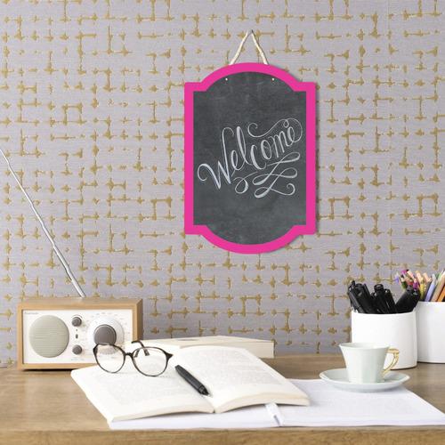 pizarrón pizarra decorativa cuadro marco rosa 29x43cm