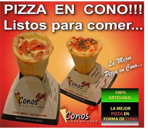 pizza en cono, conos de pizza listos para comer !!!