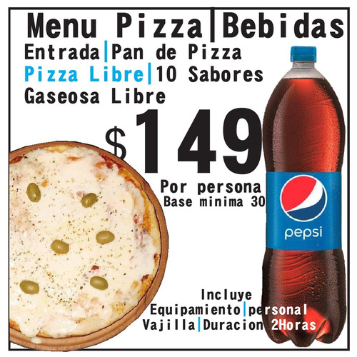 pizza party libre|entradas|bebidas|sandwich|catering|mozos.