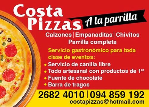 pizzas a la parrilla , calzone,chivitos. mozo/a  gratis