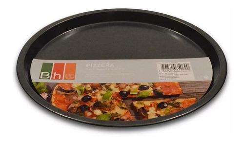 pizzera teflon antiadherente bh 34 cm molde pizza bandeja