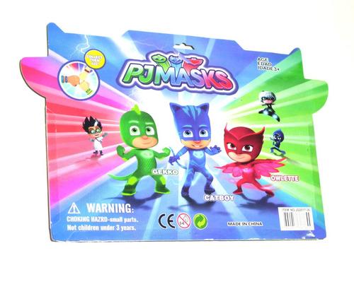 pj masks heroes en pijamas set mascara + muñeco - 3 modelos