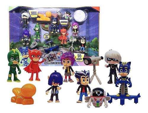 pj masks superkit de bonecos com 14 peças dtc original
