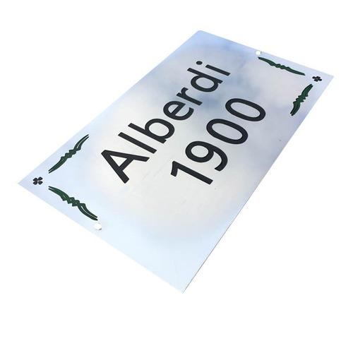 placa acero inoxidable número frente de casa dirección