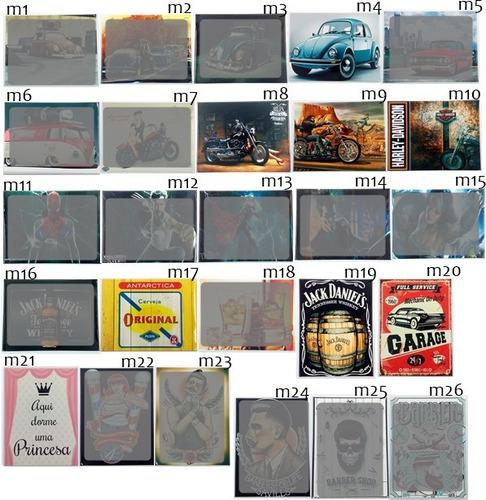 placa aço fotos retrô antiga vintage moto desenho bebidas