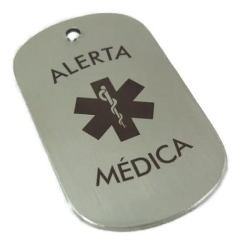 placa alerta medica estilo militar personalizada con láser, cadena gratis