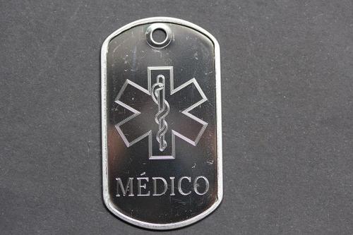 placa alerta médico dog tag saúde identificação + corrente