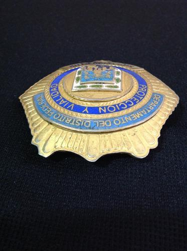 placa antigua de sub inspector de policía del d.f., azúl