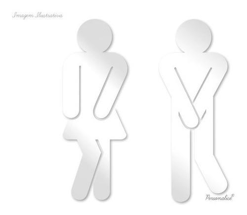 placa banheiro divertida xixi masculino e feminino espelhada