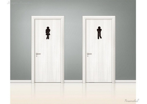 placa banheiro divertida xixi masculino e feminino preto