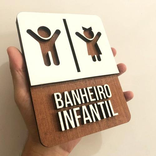 placa banheiro infantil indicativa sinalização mdf buffet