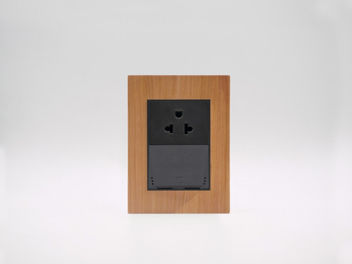 placa bauhaus madera ciprés, toma u s b doble, linea premium