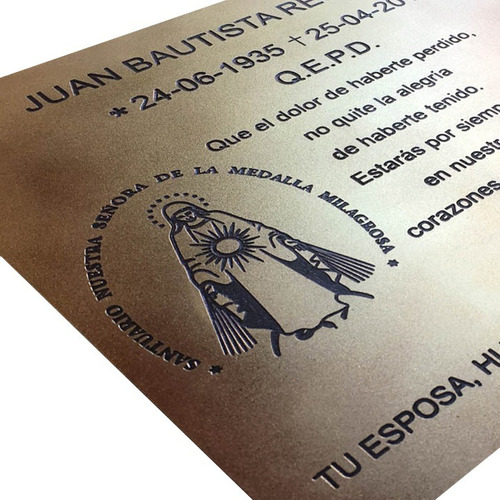 placa bronce conmemorativo, distincion, evento 15x8 cm.