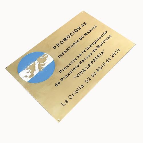 placa bronce inauguracion, reconocimiento, homenaje 15x8 cm.