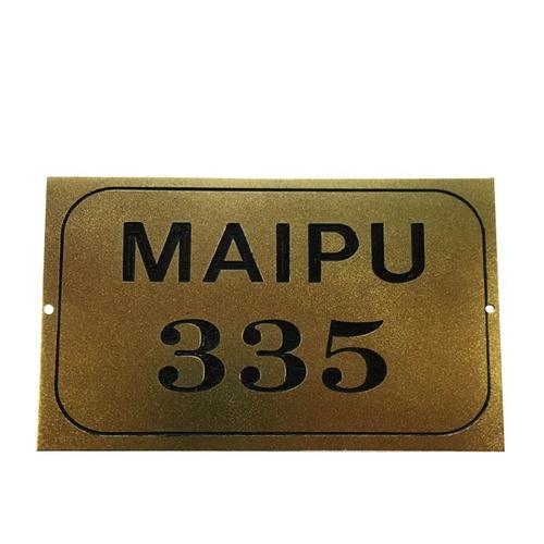 placa bronce número frente de casa dirección apellido 20x10