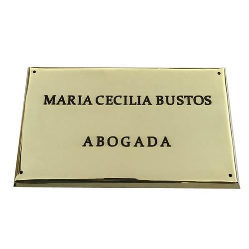 placa bronce profesional, doctor, abogado, contador 25x15 cm
