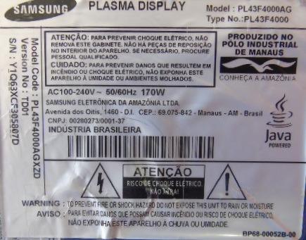 placa buffer tv samsung pl43f4000ag lj41-10299a lj41-10298a