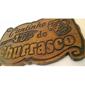 Placa Cantinho Do Churrasco Madeira Personalizada Decoração