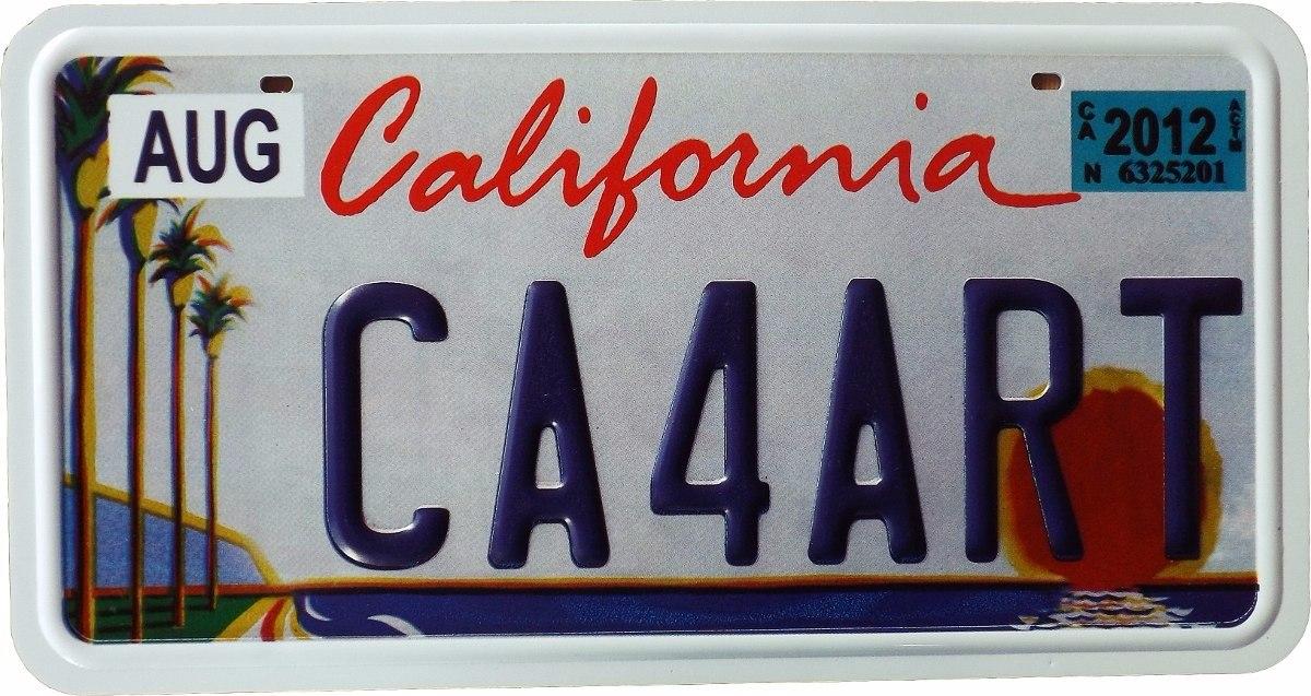 Placa carro california usa r plica em alto relevo r 49 - Placas para paredes ...
