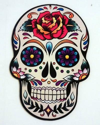 placa caveira mexicana mdf colorida decorar branca rosa